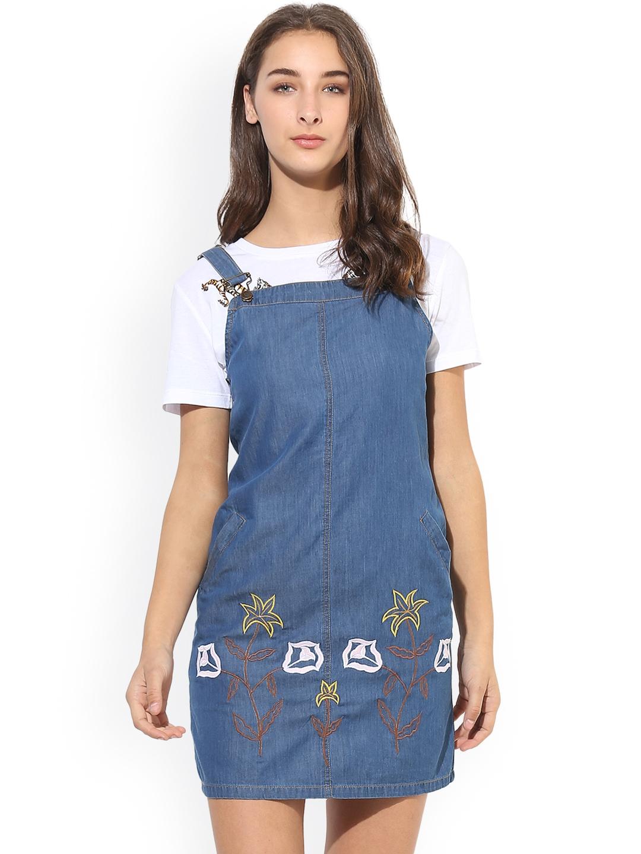 9b2add593 Buy Heather Hues Women Blue Embroidered Denim Pinafore Dress ...