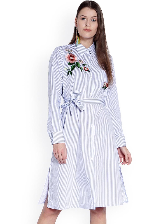 b5770fe3a8c Buy TRENDY DIVVA Women Blue Striped Shirt Dress - Dresses for Women ...