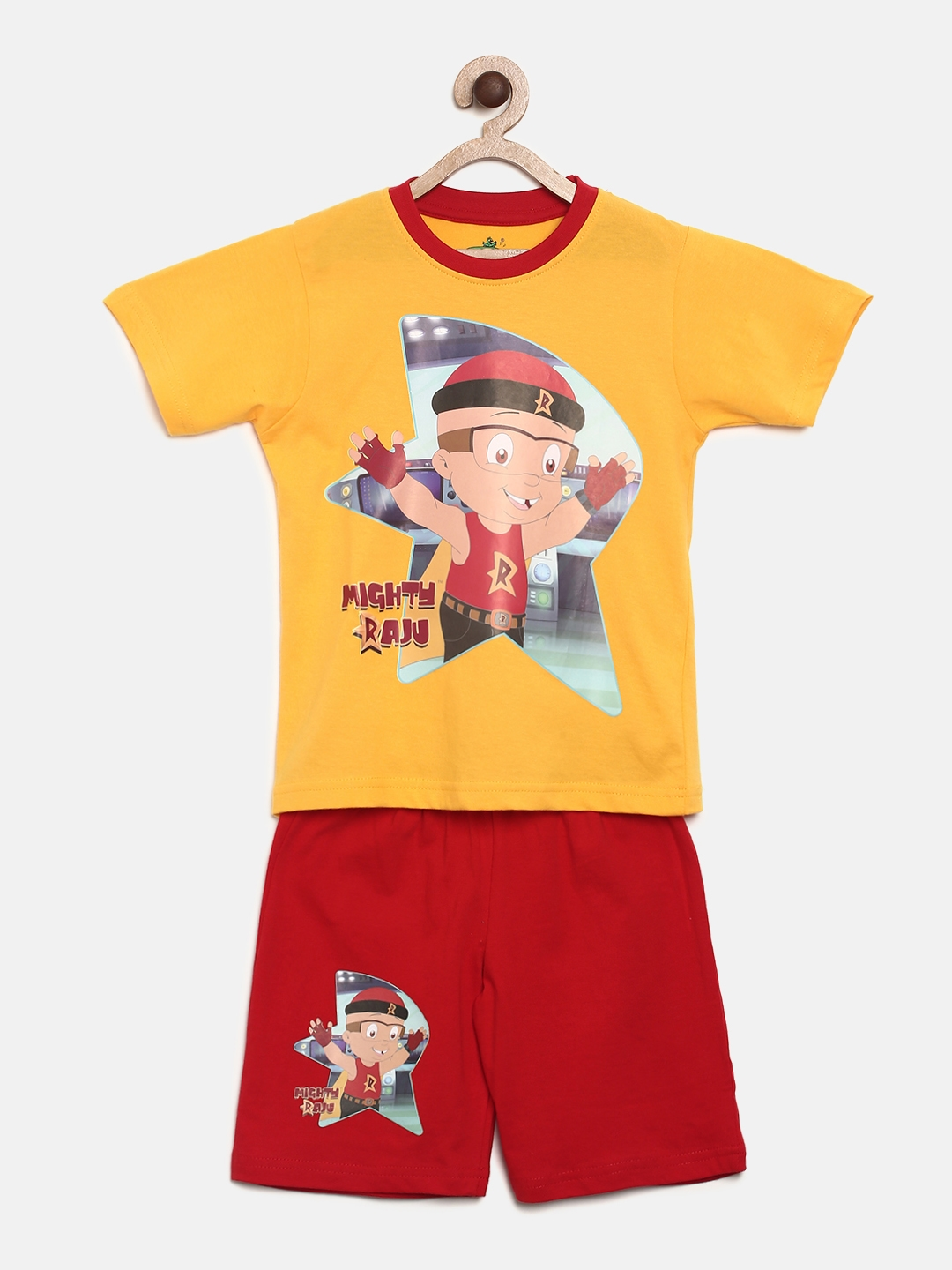 3398e9d386 Buy MIGHTY RAJU Boys Yellow & Red Printed T Shirt With Shorts ...
