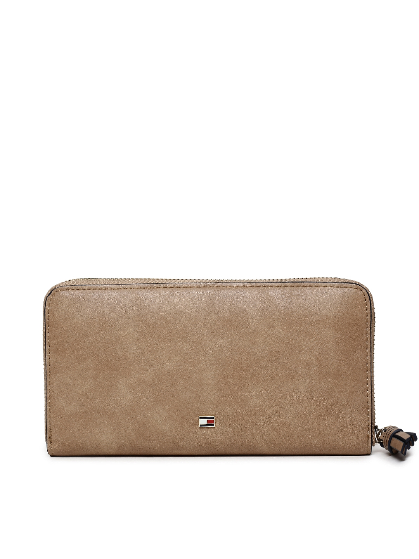 cf3ab3e1982 Buy Tommy Hilfiger Women Beige Solid Zip Around Wallet - Wallets for ...