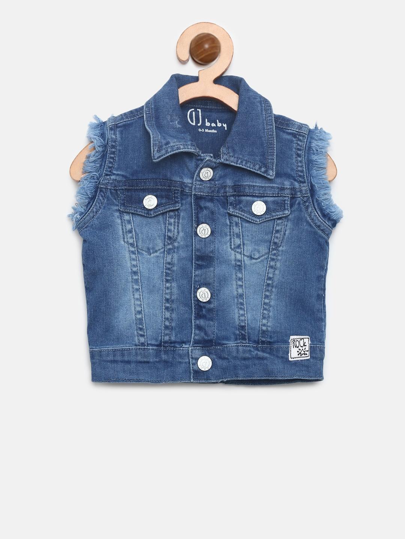 Gini and Jony Boys Blue Solid Sleeveless Denim Jacket