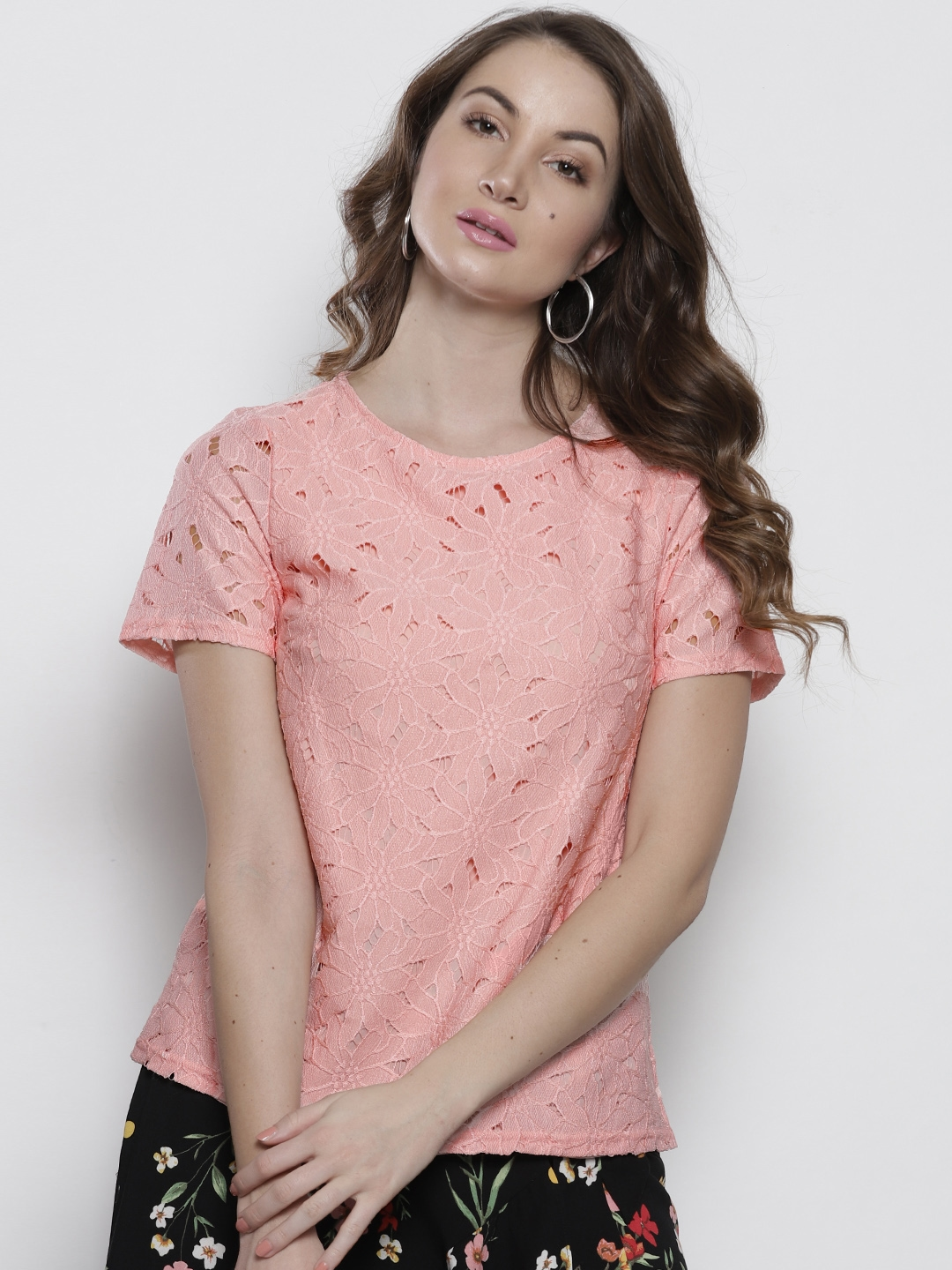 9a6817e7669372 Buy DOROTHY PERKINS Women Peach Coloured Lace Top - Tops for Women ...