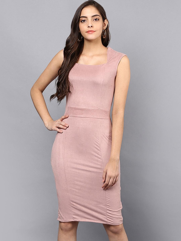 603e7cebfa2c Buy Benoit Women Pink Solid Bodycon Dress - Dresses for Women ...