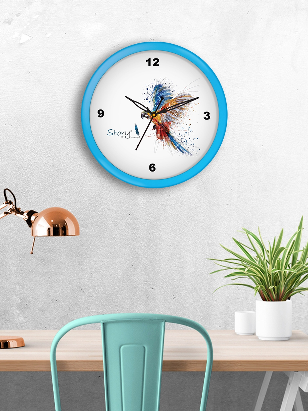 Story@home White Round Printed Analogue Wall Clock 25 cm x 25 cm