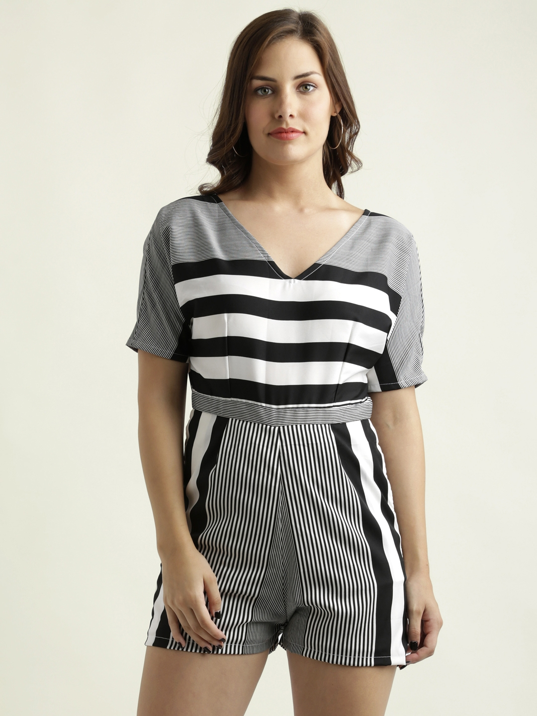 38f2ed8e6d2f Buy Miss Chase Black   White Striped Playsuit - Jumpsuit for Women ...