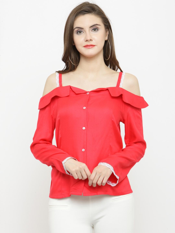 dea68d3ade5a Buy Calgari Women Red Solid Top - Tops for Women 4890664