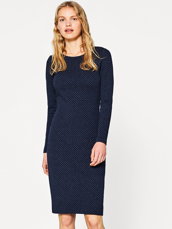 ESPRIT Women Navy Blue Self-Design Sheath Dress