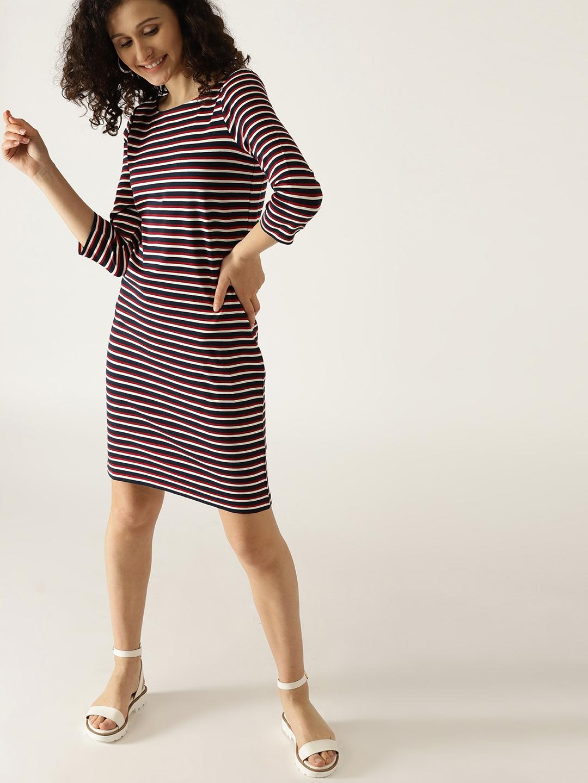 Buy ESPRIT Women Navy Blue   Red Striped Sheath Dress - Dresses for ... 4224584ae3b99