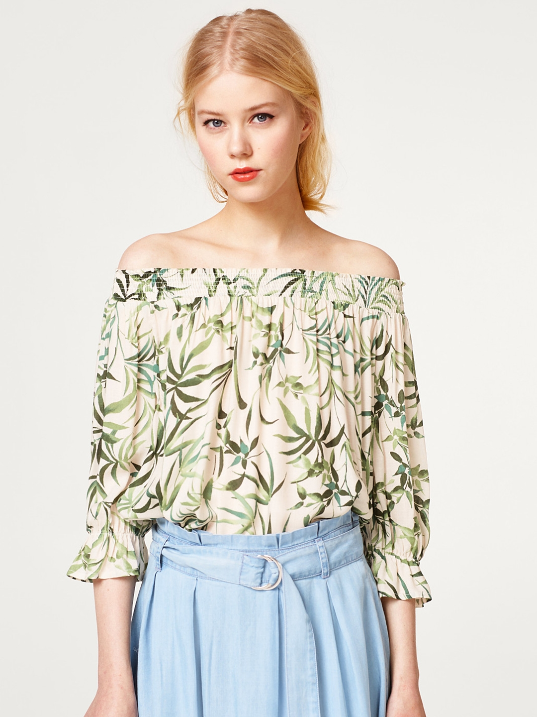 7af77abf5b6e90 Buy ESPRIT Women Off White   Green Printed Bardot Top - Tops for ...