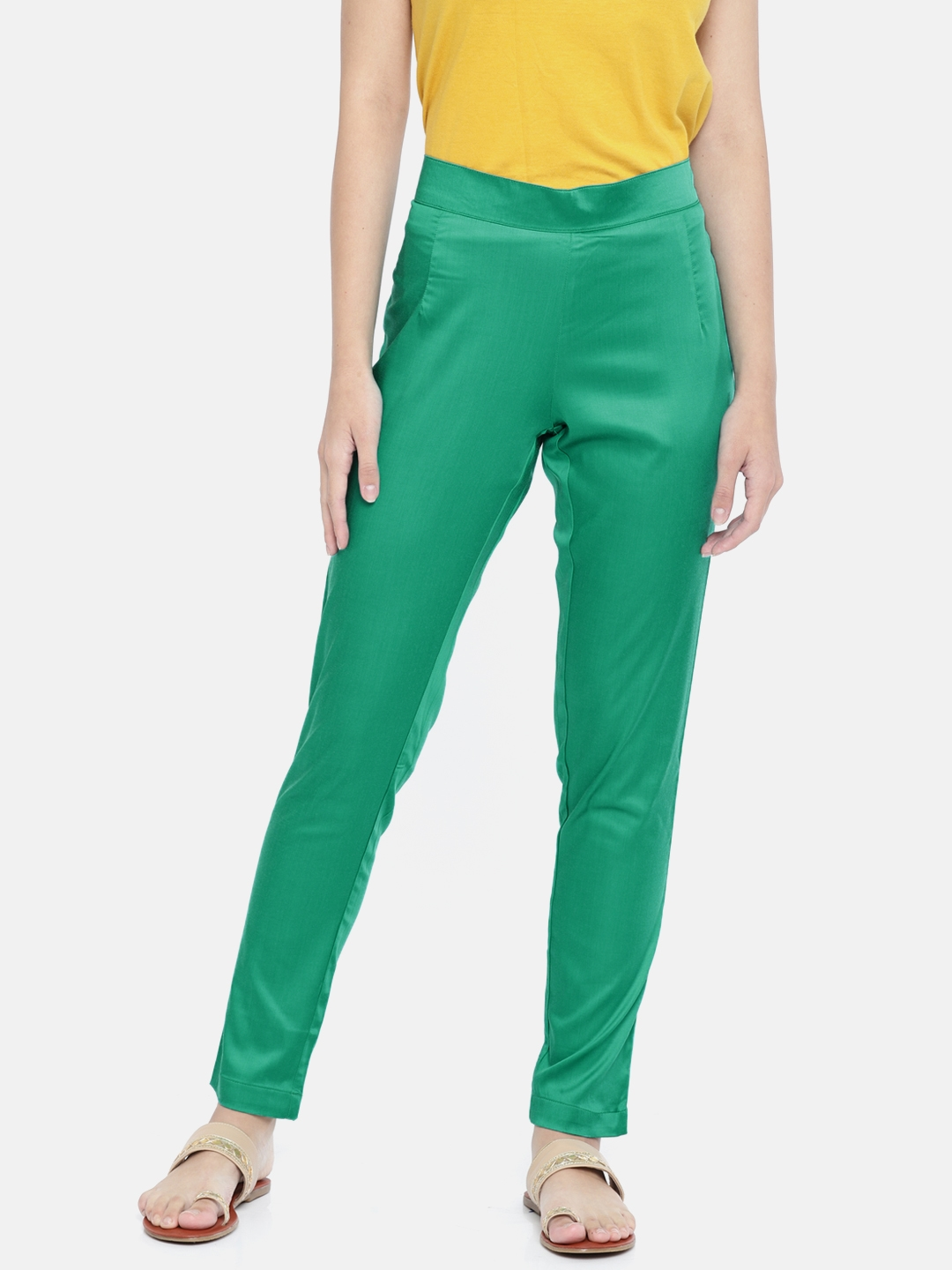 Buy Go Colors Women Green Relaxed Regular Fit Solid Cigarette
