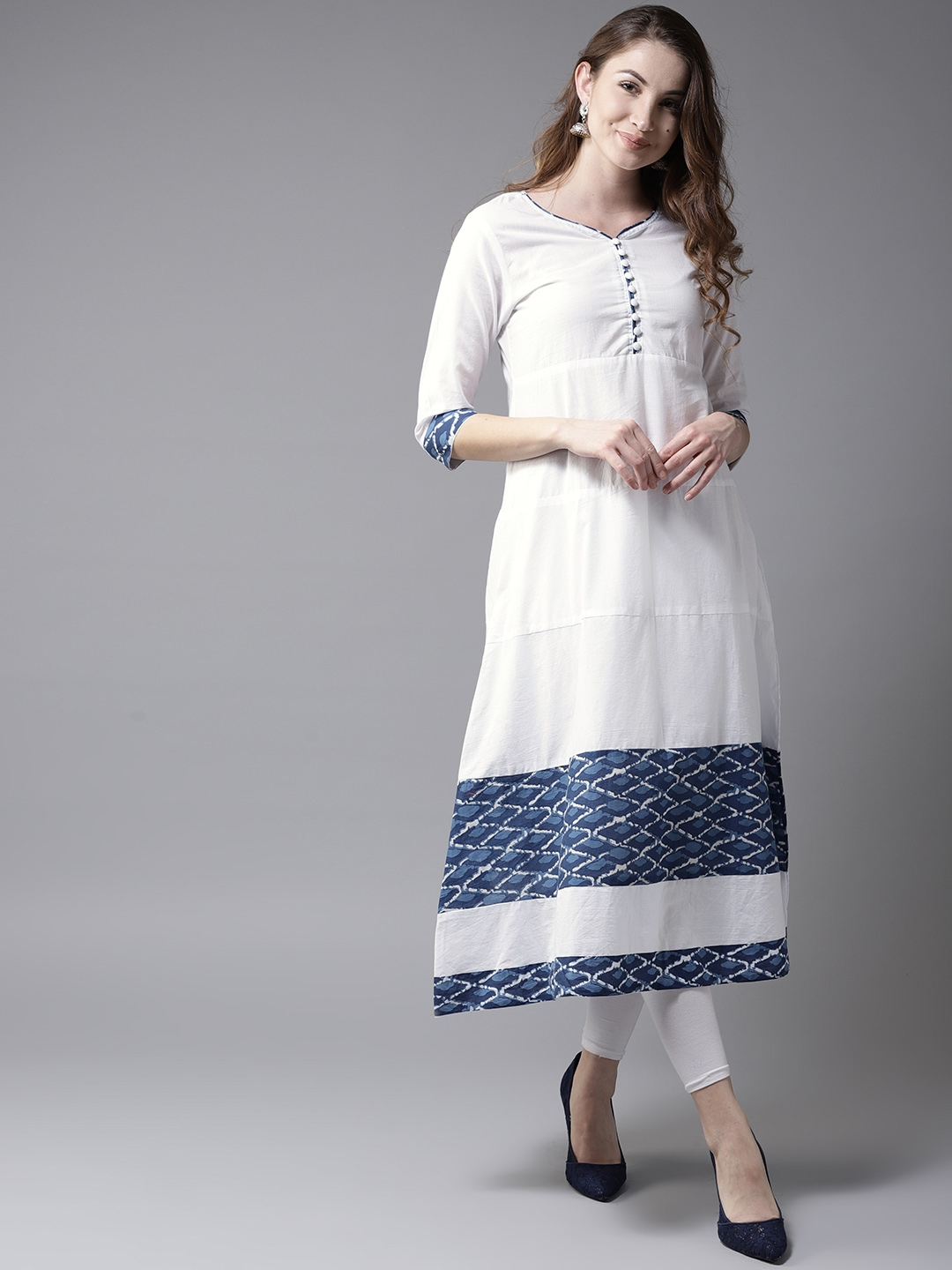 292a681f89021 Buy HERE&NOW Women White & Blue Solid A Line Kurta - Kurtas for ...