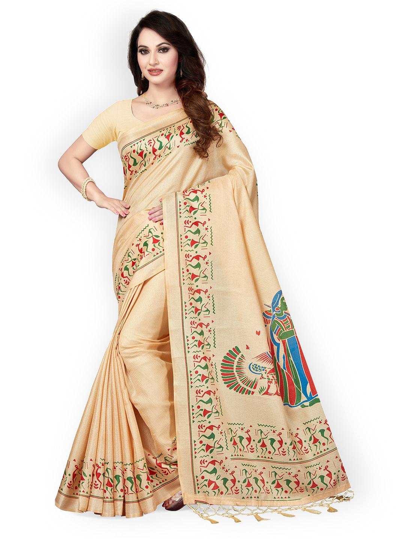 92cac6f01 Buy Ishin Beige Art Silk Printed Mysore Silk Saree - Sarees for ...