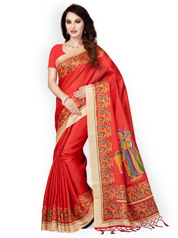 126e0698f Buy Ishin Red Art Silk Printed Mysore Silk Saree - Sarees for Women ...