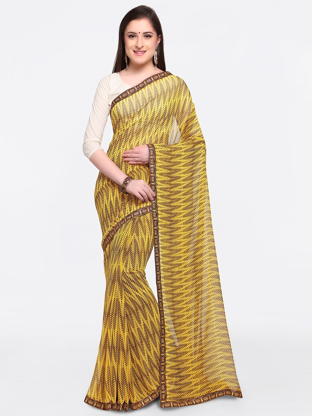 d107a2fb157 Buy Triveni Yellow Printed Pure Georgette Saree - Sarees for Women ...