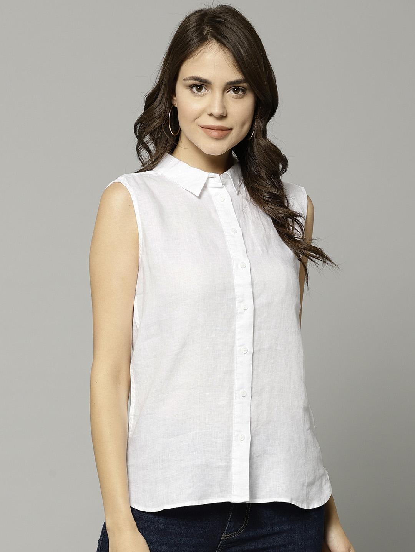 51d4cd456 Buy Marks & Spencer Women White Linen Regular Fit Solid Casual Shirt ...