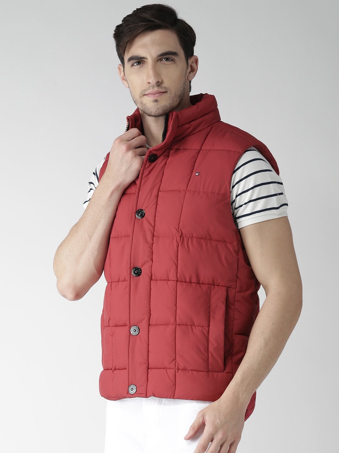 65b1925a531 Buy Tommy Hilfiger Men Coral Red Bas Vest Down Padded Sleeveless ...