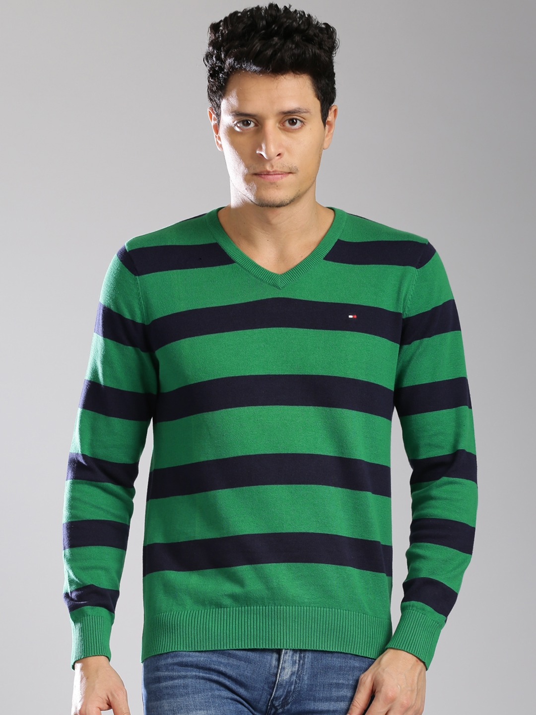 Buy Tommy Hilfiger Men Green & Blue Striped Sweater - Sweaters for ...