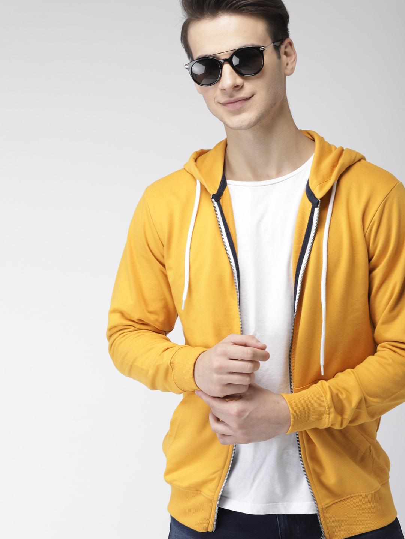 Mast   Harbour Men Yellow Solid Hooded Sweatshirt