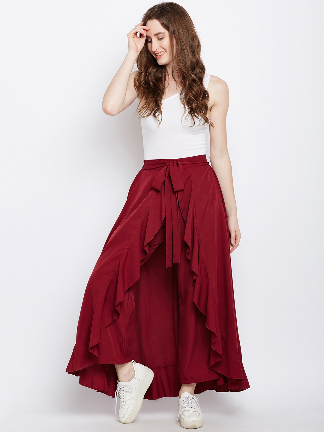 cf90101fe11 Berrylush Maroon Solid Ruffled Flared Maxi Skirt with Attached Trousers