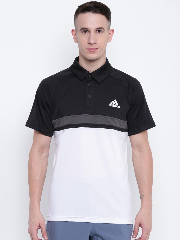 c6f6ff0b8 Buy ADIDAS Men Black   White Colourblocked Club Tennis Polo T Shirt ...