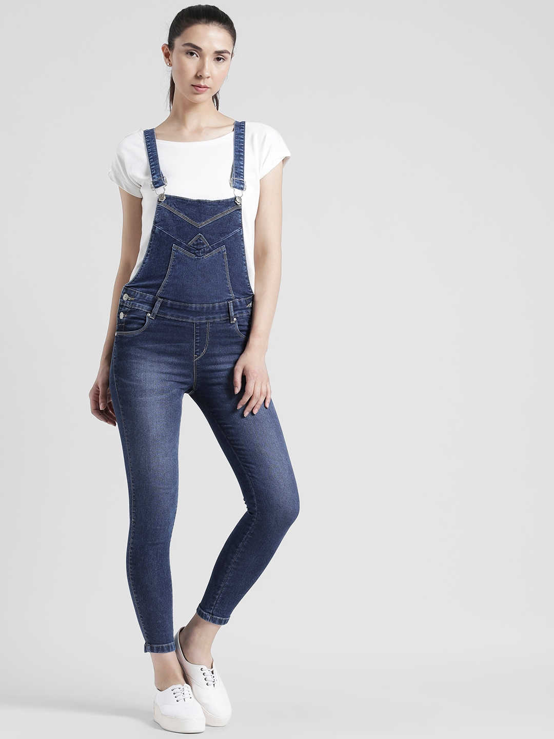 54b645a4523 Buy Devis Women Blue Washed Denim Dungarees - Dungarees for Women ...