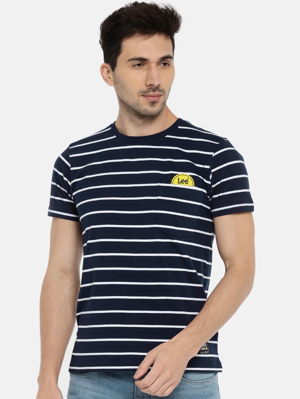c5ac3959b4 Buy Lee Men Navy Blue Striped Round Neck T Shirt - Tshirts for Men ...
