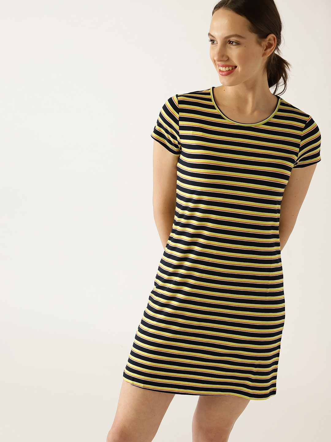 65ed67f6aaba United Colors of Benetton Women Navy Blue   Lime Green Striped Mini T-shirt  Dress