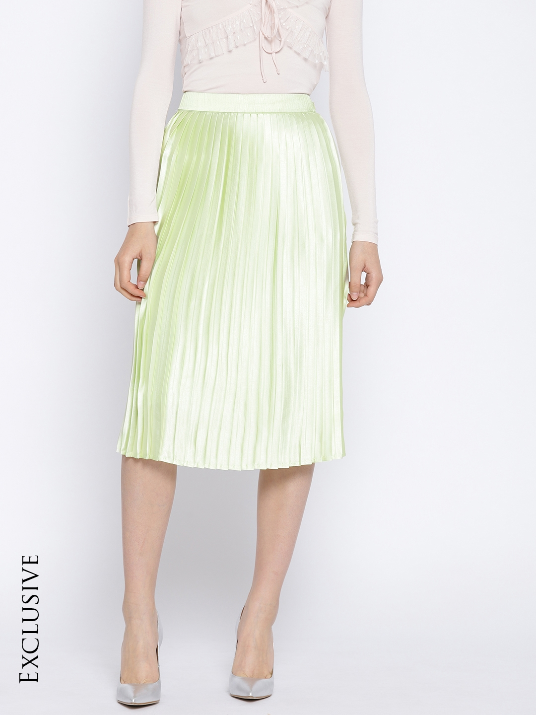 3bedee3ded Buy Leo Sansini Green Accordion Pleat Midi Flared Skirt - Skirts for ...