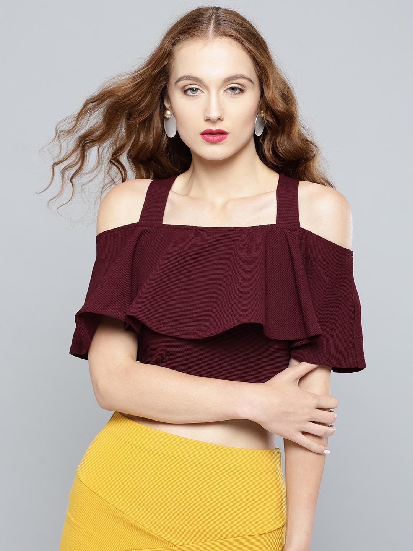 Veni Vidi Vici Women Burgundy Solid Cold Shoulder Crop Fitted Top