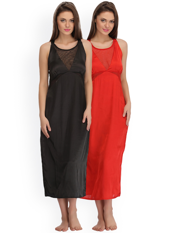 Buy Clovia Pack Of 2 Solid Nightdresses - Nightdress for Women ... 1d025bbf3