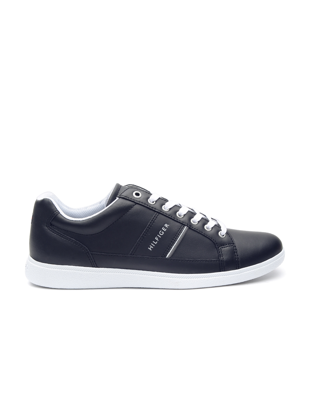 048a8c1aa499e4 Buy Tommy Hilfiger Men Black Leather Sneakers - Casual Shoes for Men ...