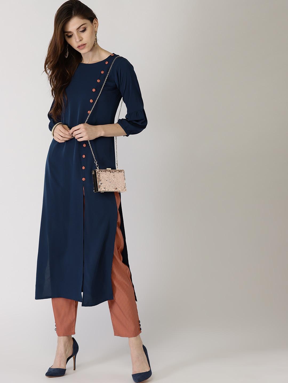 5b421a425 Libas Women Navy Blue   Rust Orange Solid Kurta with Trousers. Best Price   ...