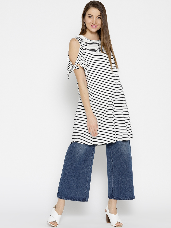 2cde3183d2b Buy Cottonworld Women White & Navy Blue Striped Longline Top - Tops ...