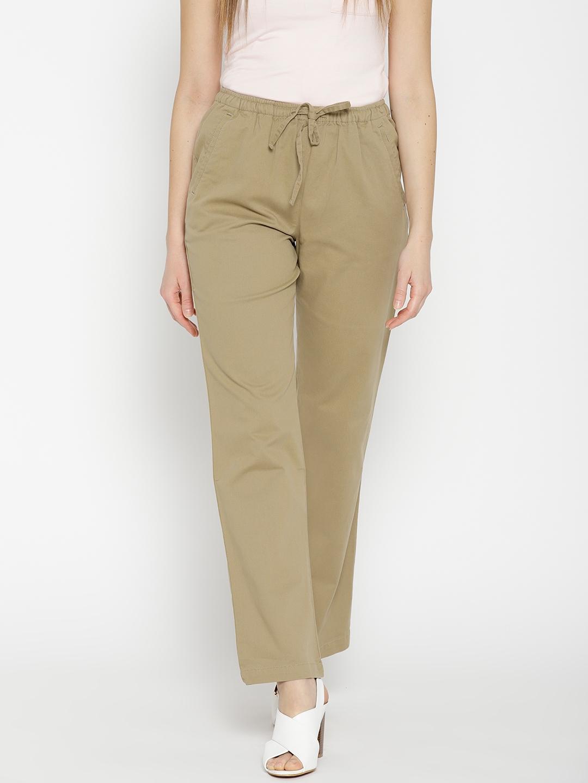 832fbd0e047b23 Buy Cottonworld Women Khaki Regular Fit Solid Trousers - Trousers ...