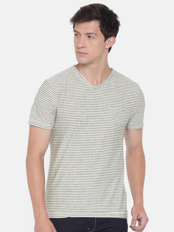 fad9f4daa1 Buy Ed Hardy Men Off White   Black Slim Fit Striped V Neck T Shirt ...