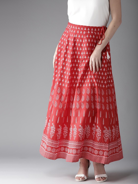 20e0e4d6f Buy Moda Rapido Red & White Printed Maxi Flared Skirt - Skirts for ...