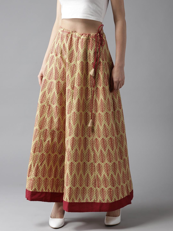 730193967 Buy Moda Rapido Beige & Maroon Printed Maxi Flared Skirt - Skirts ...