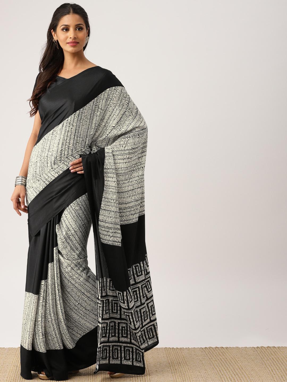 Buy Drape Stories Black White Silk Blend Printed Saree Sarees For Women 5361511 Myntra