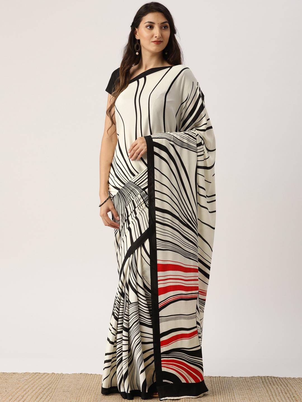 Buy Drape Stories Off White Black Silk Blend Striped Saree Sarees For Women 5361512 Myntra