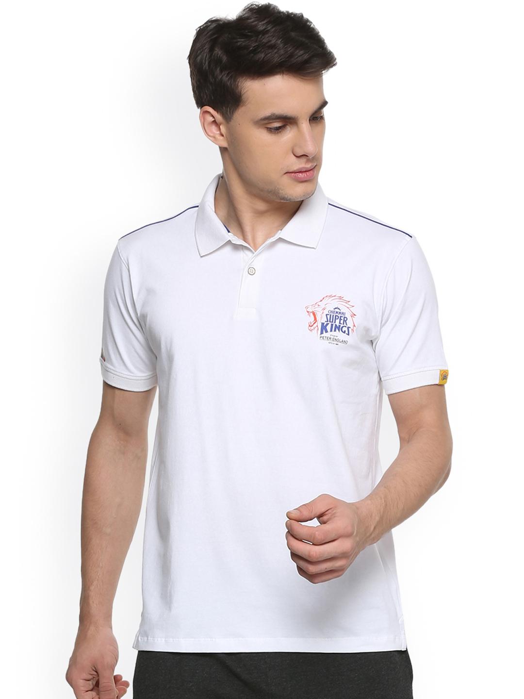 386fbeb2 Buy Peter England Men White Chennai Super Kings Slim Fit Polo T ...