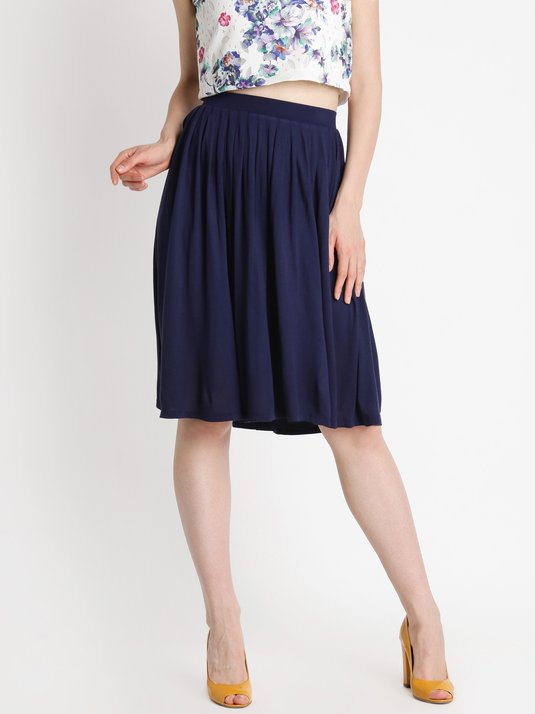 9a665515b938 Buy Annabelle By Pantaloons Woman Navy Solid A Line Flared Skirt ...
