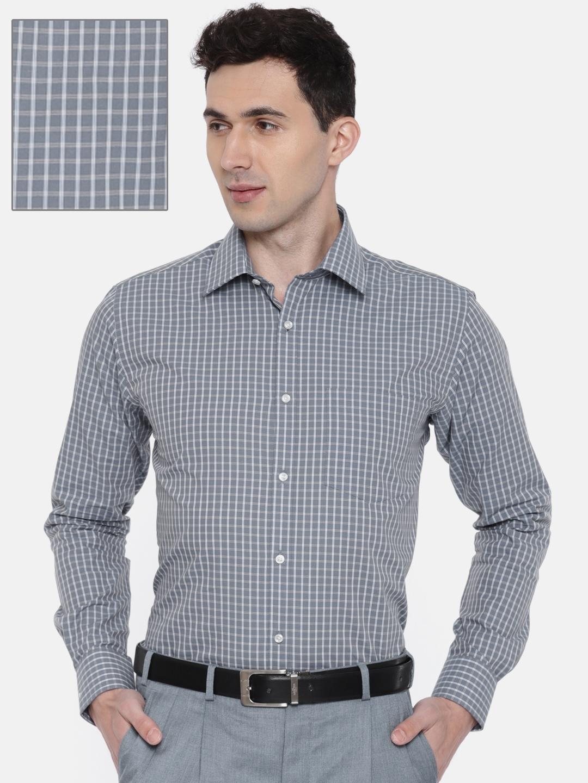 9bfc9328c2 Buy Park Avenue Men Grey   Off White Slim Fit Checked Formal Shirt ...