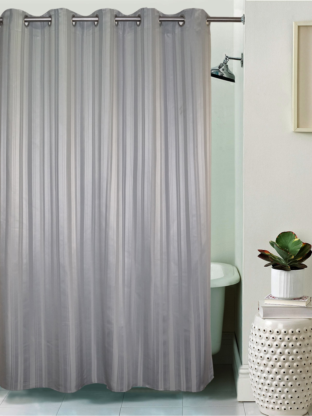 Lushomes Striped Grey Polyester Shower Curtain