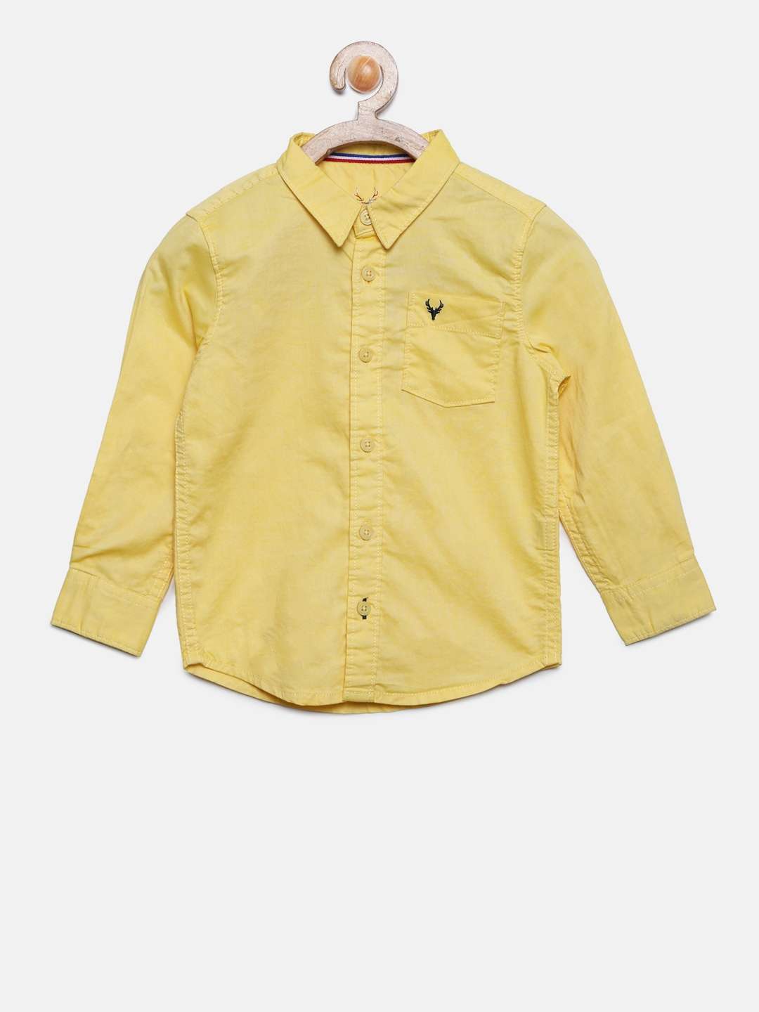 061d1359f Buy Allen Solly Junior Boys Yellow Regular Fit Solid Casual Shirt ...
