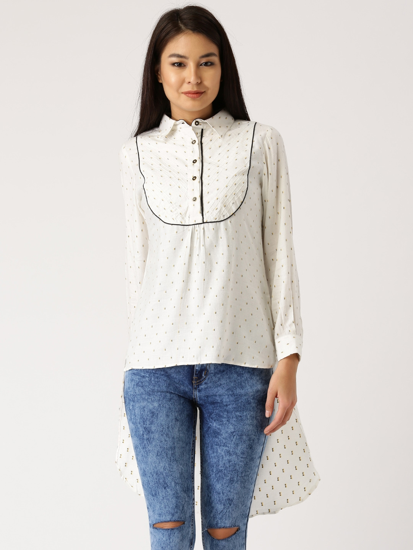 Jaipur Kurti Women White Straight Regular Fit Printed Casual Shirt