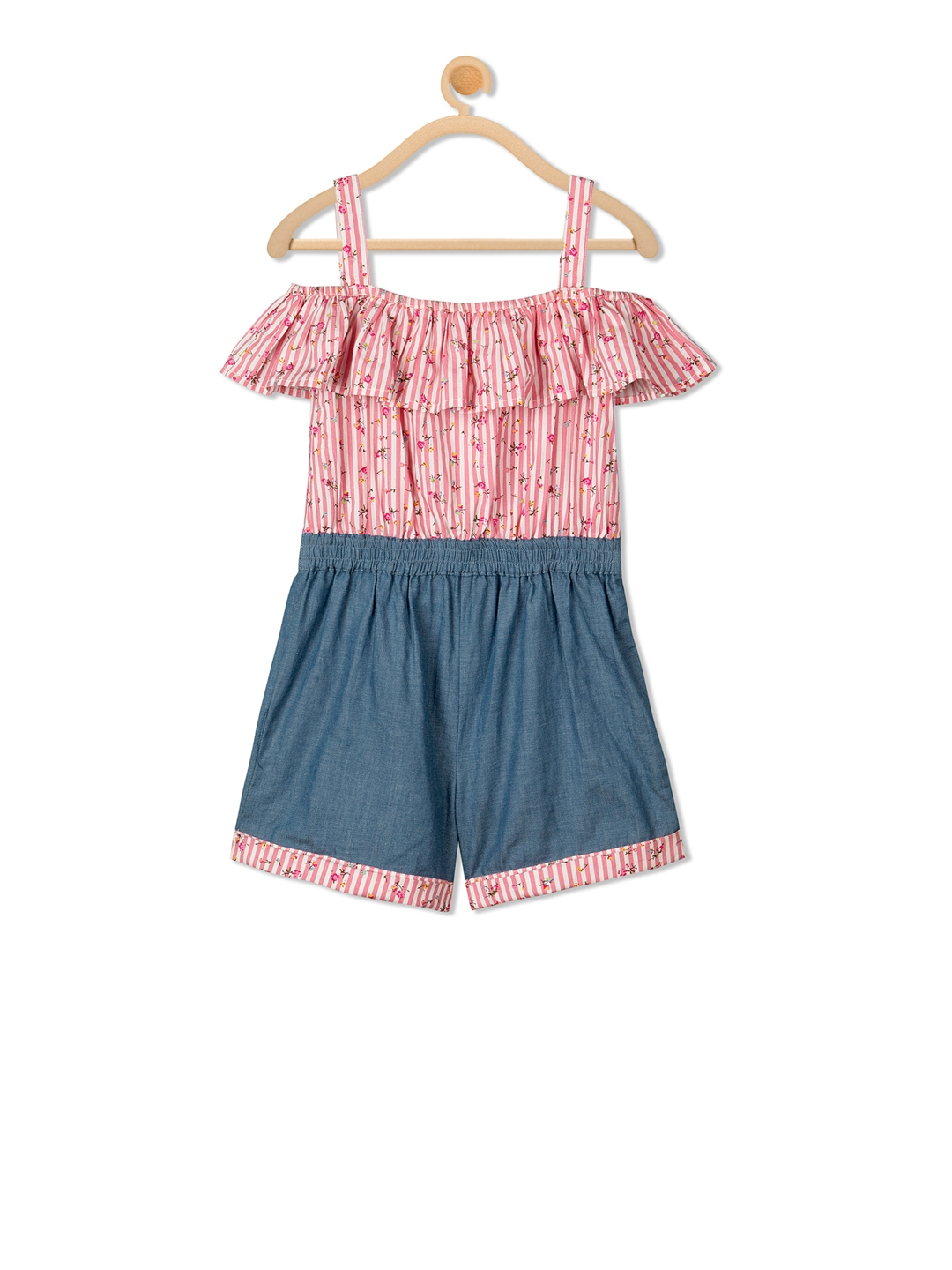 733aa4d2500 Buy Budding Bees Girls Pink   Grey Printed Playsuit - Jumpsuit for ...