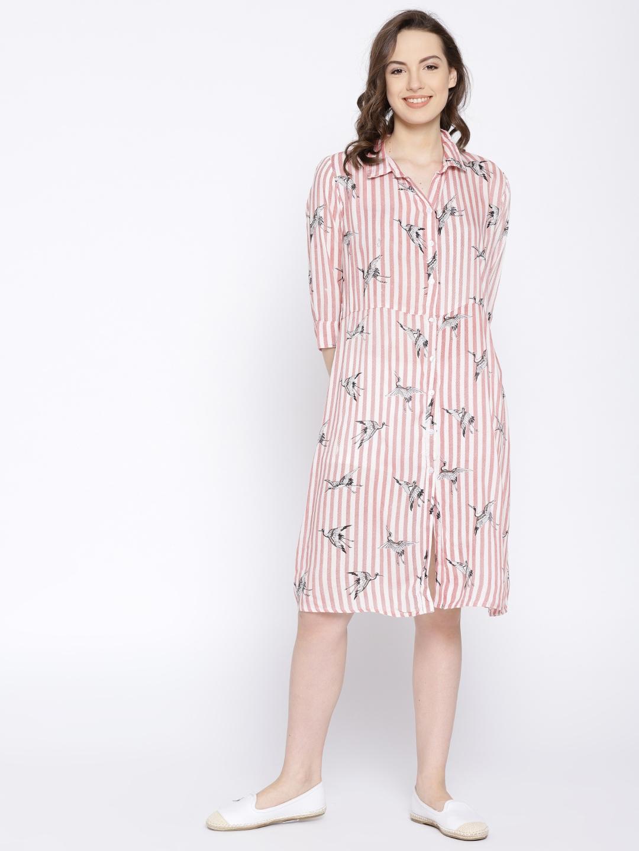 e00f09bdc61 Buy Moda Rapido Women White   Red Striped Shirt Dress - Dresses for ...