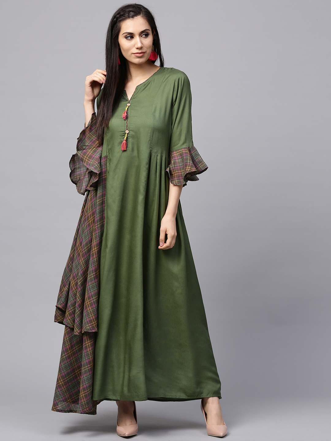 ce4fd9e013c4 Buy Shree Women Green Checked Maxi Dress - Dresses for Women 5388718 ...