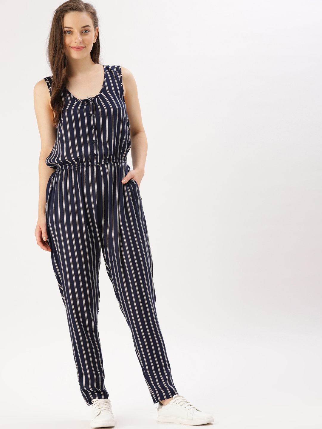 Buy Dressberry Navy Blue Off White Striped Basic Jumpsuit