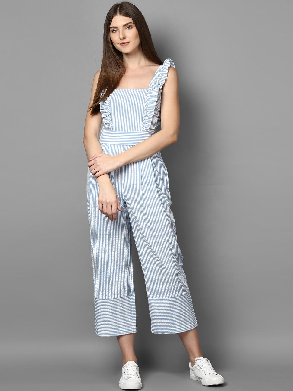 7000ad6b9397 Buy STREET 9 Women White   Blue Striped Culotte Jumpsuit - Jumpsuit ...